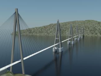 Offshore-teknologi for fjordkryssing: Skråstagbro på pongtonger som er forankret i sjøbunnen. Illustrasjon Arne Jørgen Myhre/Statens vegvesen