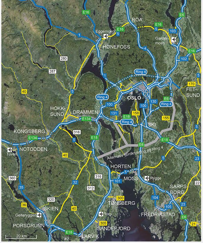 ABVs forslag til veisystem i Oslo-området.