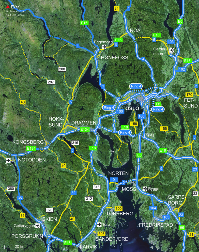 Det videre bildet: Bro mellom Horten og Moss vil gi god avkastning både sett i et rent transportøkonomisk perspektiv og fra en regionalpolitisk synsvinkel. Prosjektet ligger imidlertid lengre frem i tid – det mest presserende er å bygge ut dagens Rv23 med bro over Oslofjorden som en fremtidig kombinert Ring 4 og E18.