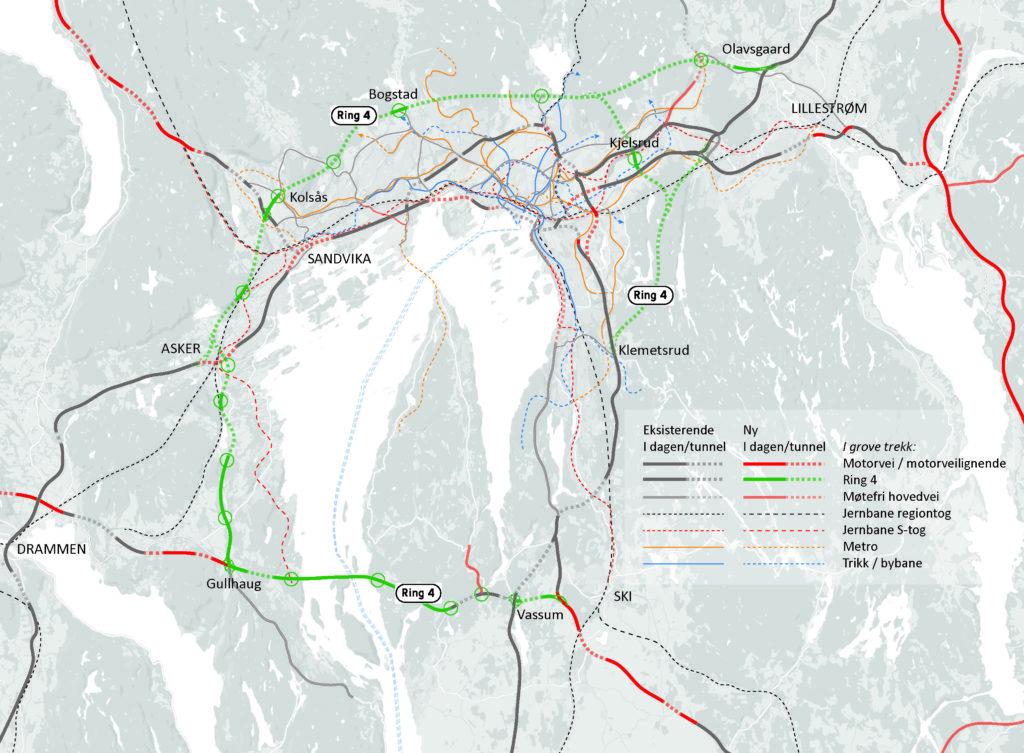 En bynær Ring 4 i tunneler under marka og bro over Oslofjorden er en god og langsiktig løsning for veisystemet i Oslo-området, som kan vente en befolkningsvekst på mellom 1,7 og 3,5 millioner innbyggere frem til år 2100.
