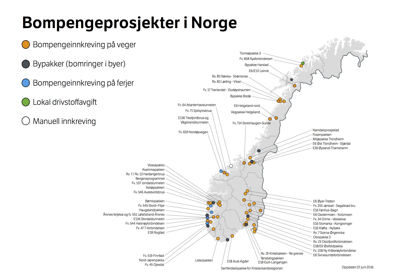 Stadig flere bompengeprosjekter skaper en uholdbar situasjon for næringslivet. Kartt fra Statens vegvesen.