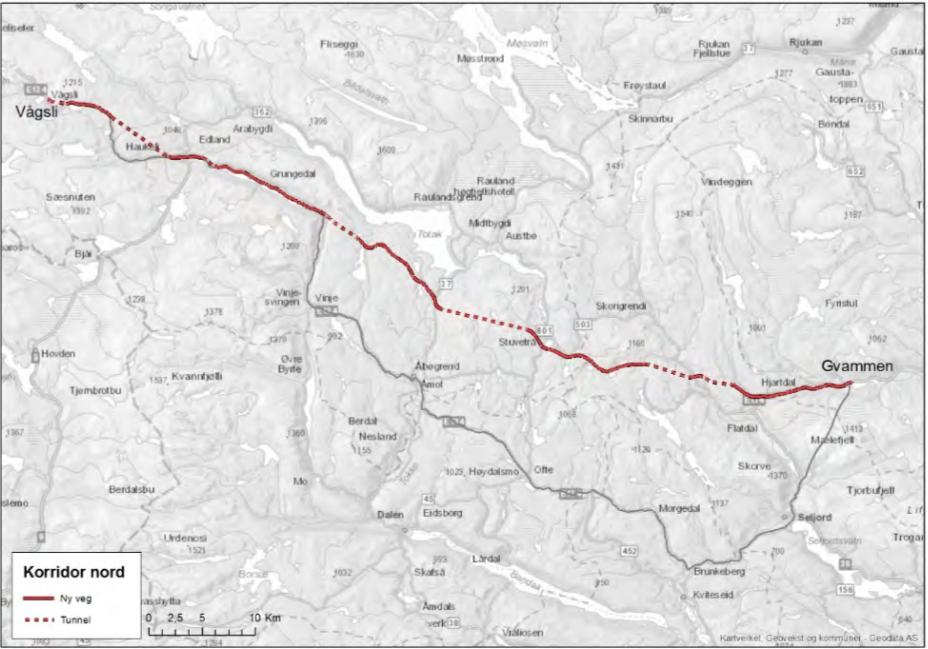 Nordlig trasé Gvammen–Vågsli over Rauland i rødt, dagens omvei om Seljord i grått lenger sør. Her er det 35 kilometer å spare! Kart: Statens vegvesen.