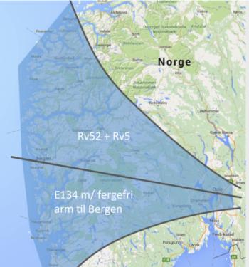 Dekker hele Vestlandet: E134 med bergensarm i sør, Rv52 og Rv5 i nord.