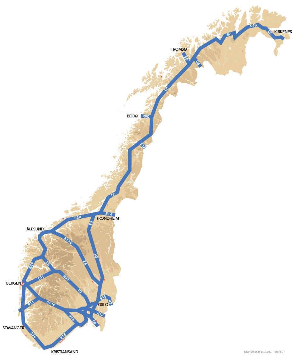 Forslag til hovedveiplan, prioriterte hovedveier